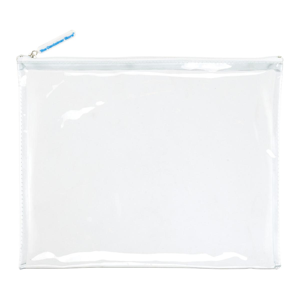 Large White Zippered Clear Pouch