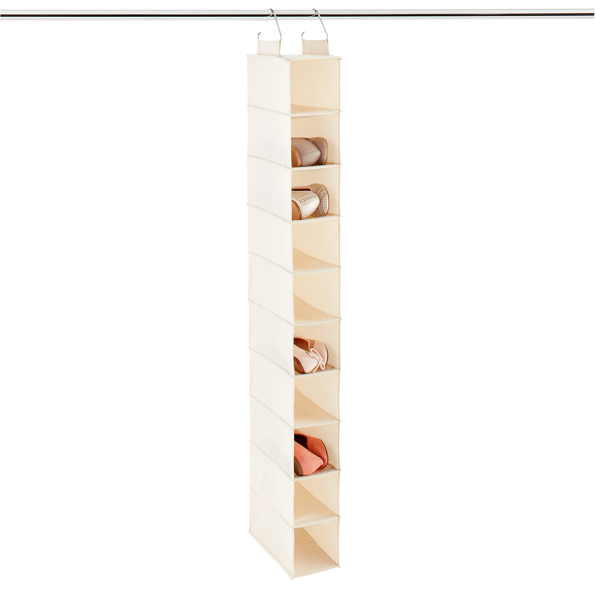 10-Compartment Natural Canvas Hanging Shoe Organizer