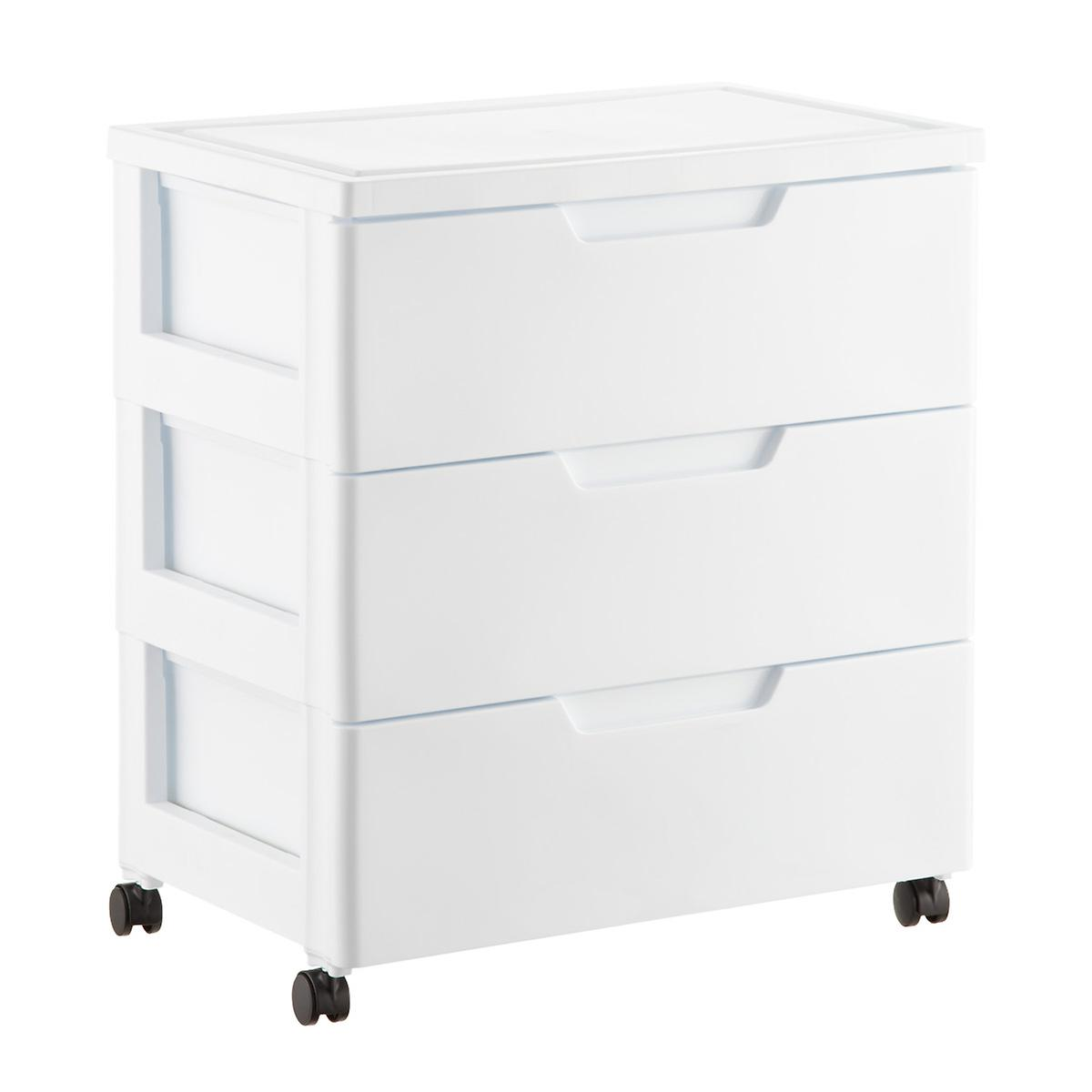iris white 3 drawer premium plastic storage chest with wheels the container store. Black Bedroom Furniture Sets. Home Design Ideas
