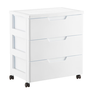 Iris White 3-Drawer Premium Plastic Storage Chest with Wheels