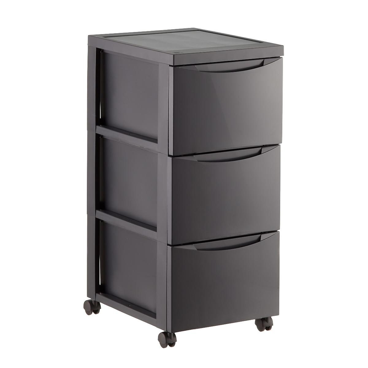 Grey 3 Drawer Plastic Storage Chest With Wheels