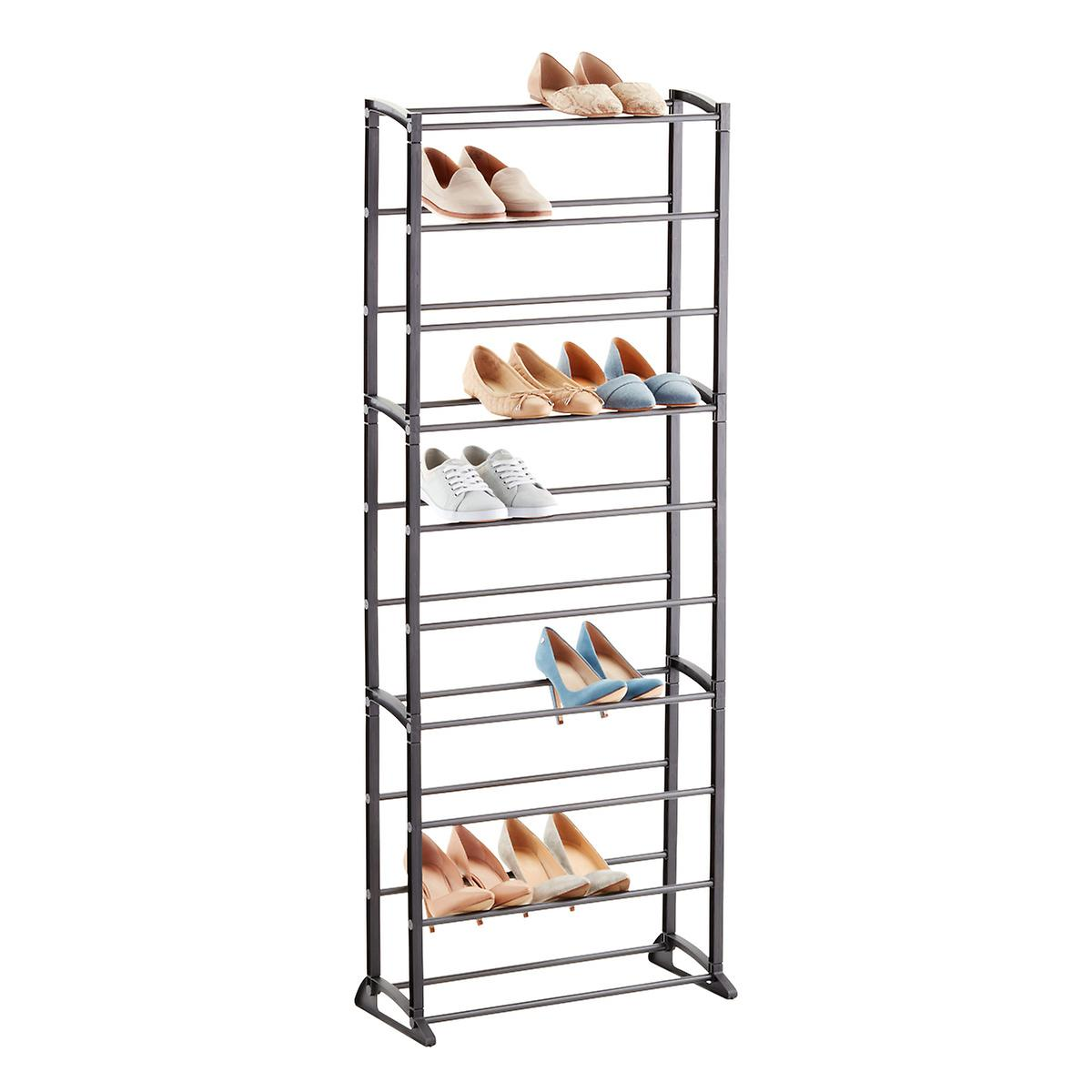 Gunmetal 30-Pair Shoe Rack