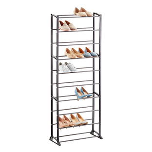 Gunmetal 30 Pair Shoe Rack The Container Store