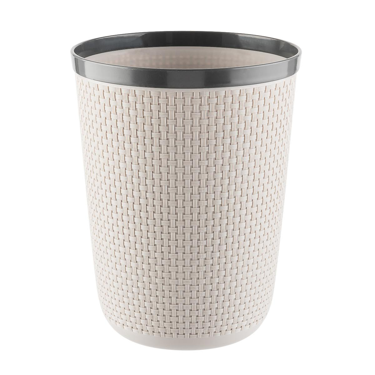 Grey Round Cottage Woven Wastebasket