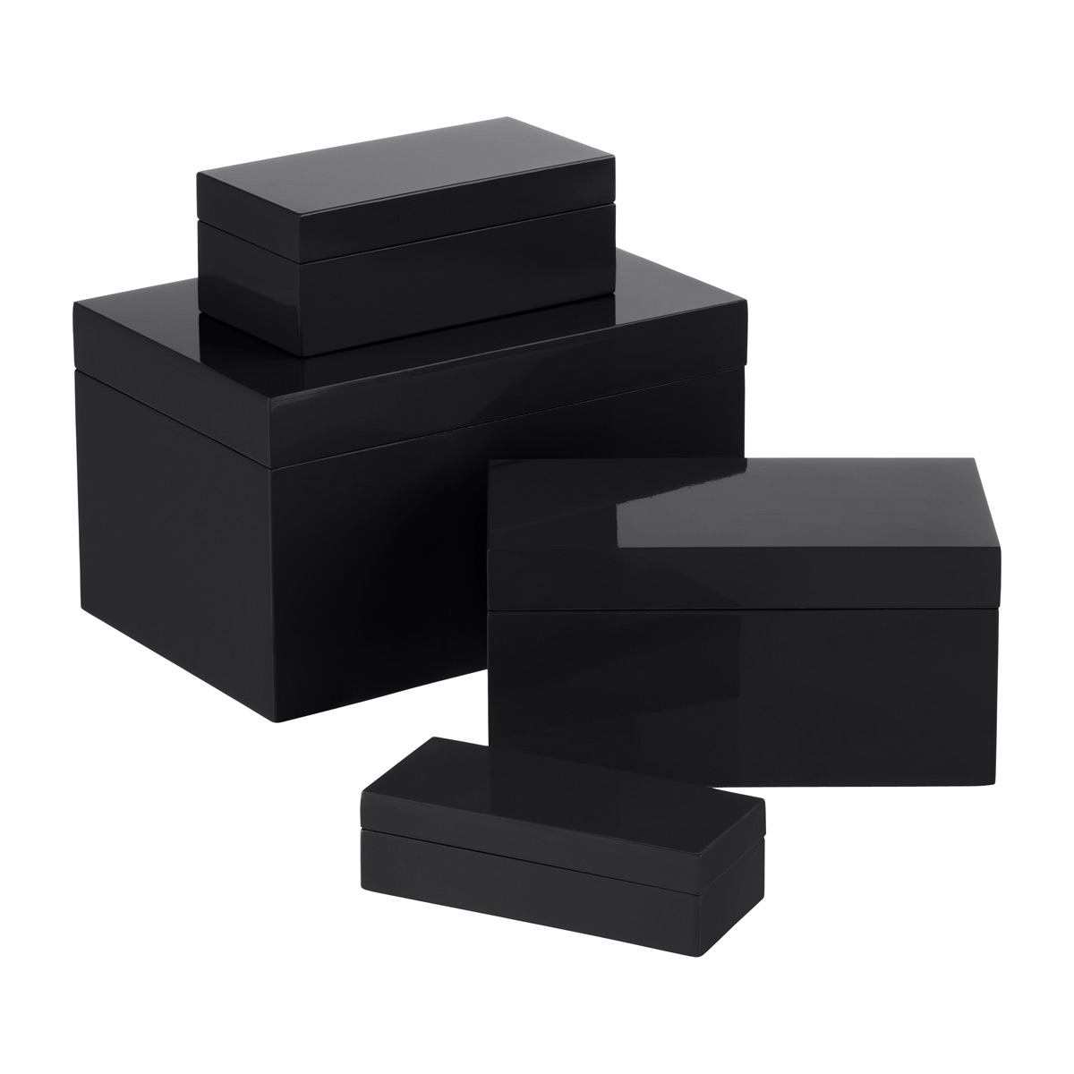 Black Lacquered Storage Boxes
