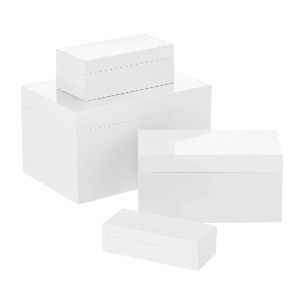 Charmant White Lacquered Storage Boxes