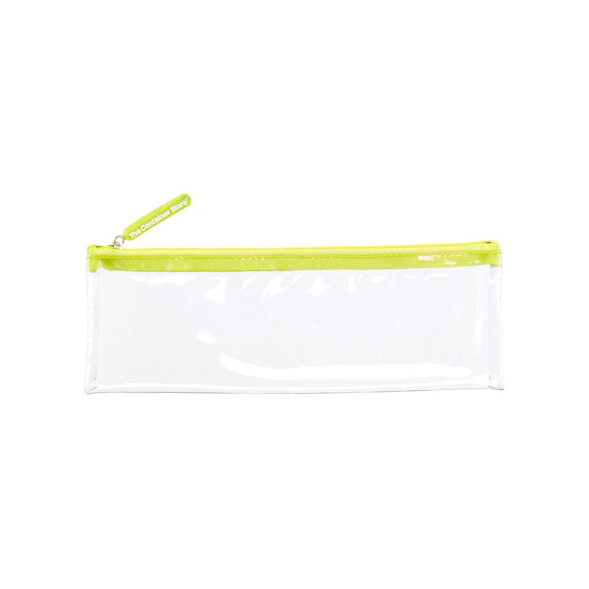 Medium Green Zippered Clear Pouch