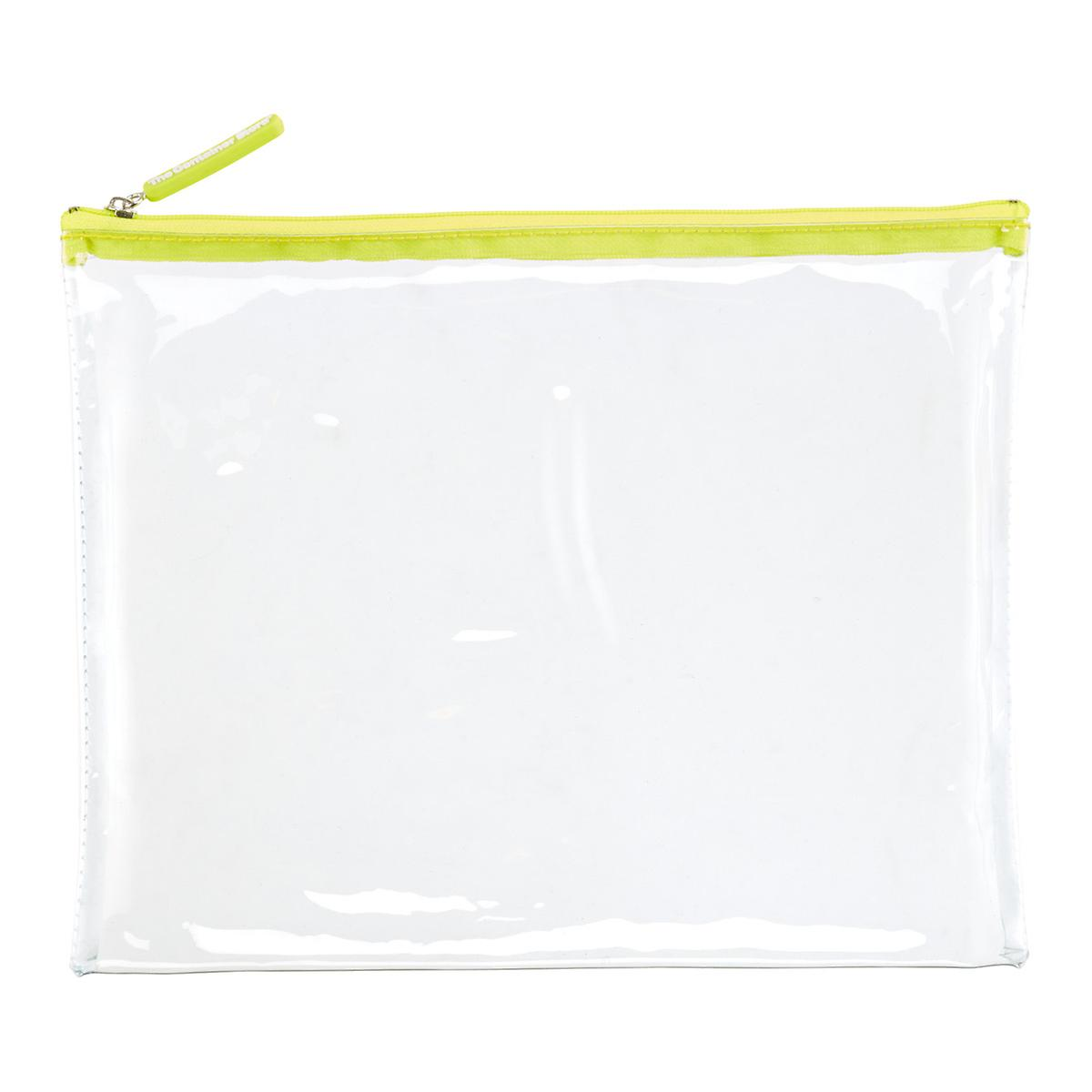 Large Green Zippered Clear Pouch