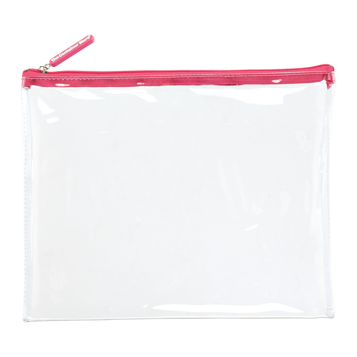 Large Medium Pink Zippered Clear Pouch
