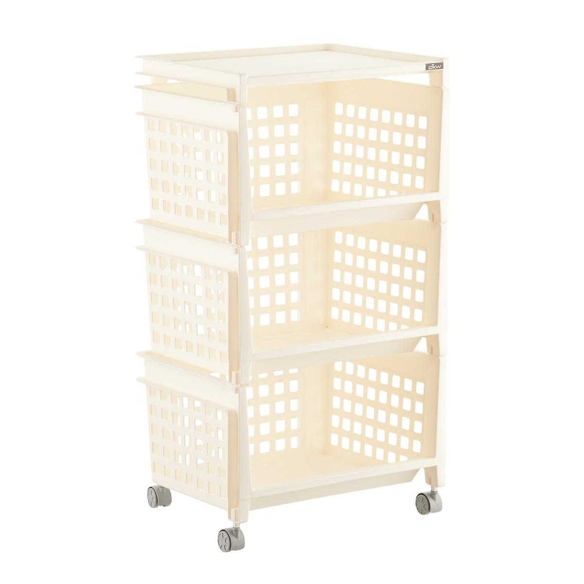 Cream 3-Tier Plastic Storage Bin with Wheels