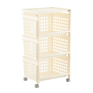 Perfect Cream 3 Tier Plastic Storage Bin With Wheels