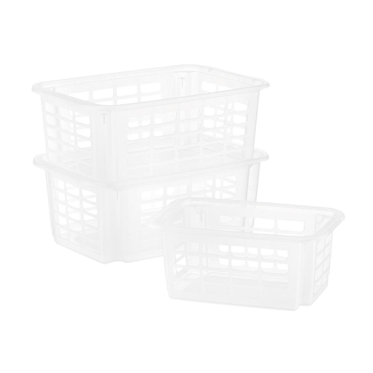 Clear Stackable Plastic Storage Baskets