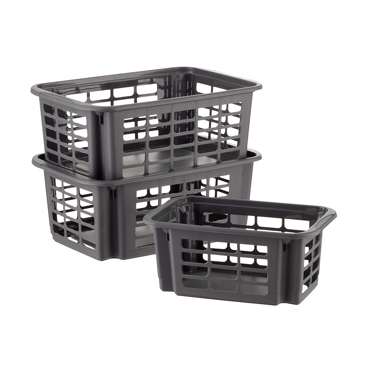 Graphite Stackable Plastic Storage Baskets