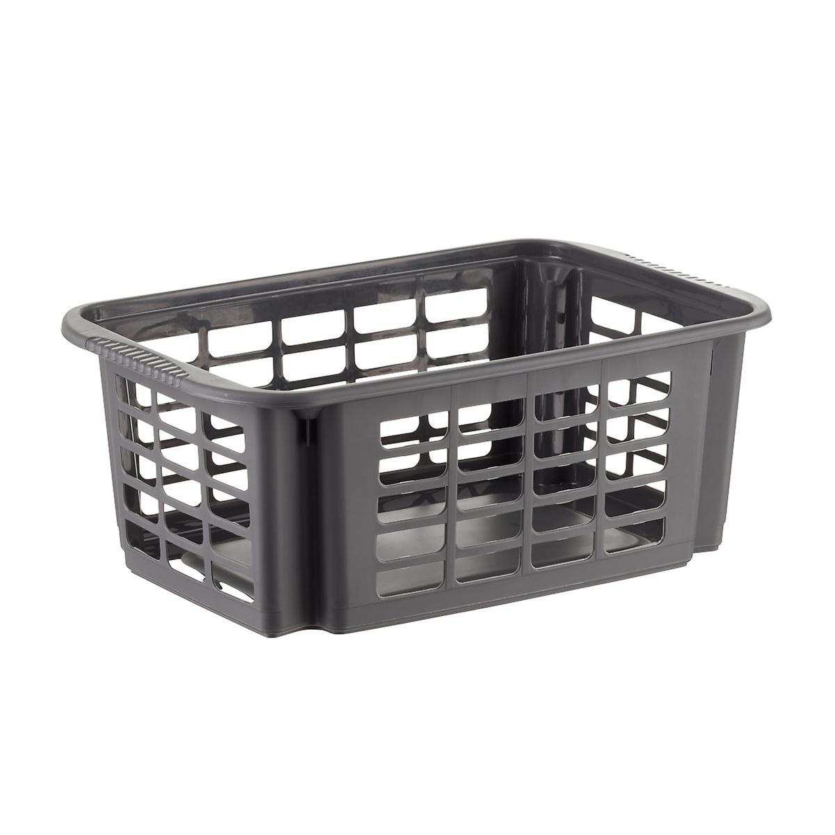 graphite stackable plastic storage baskets the container. Black Bedroom Furniture Sets. Home Design Ideas