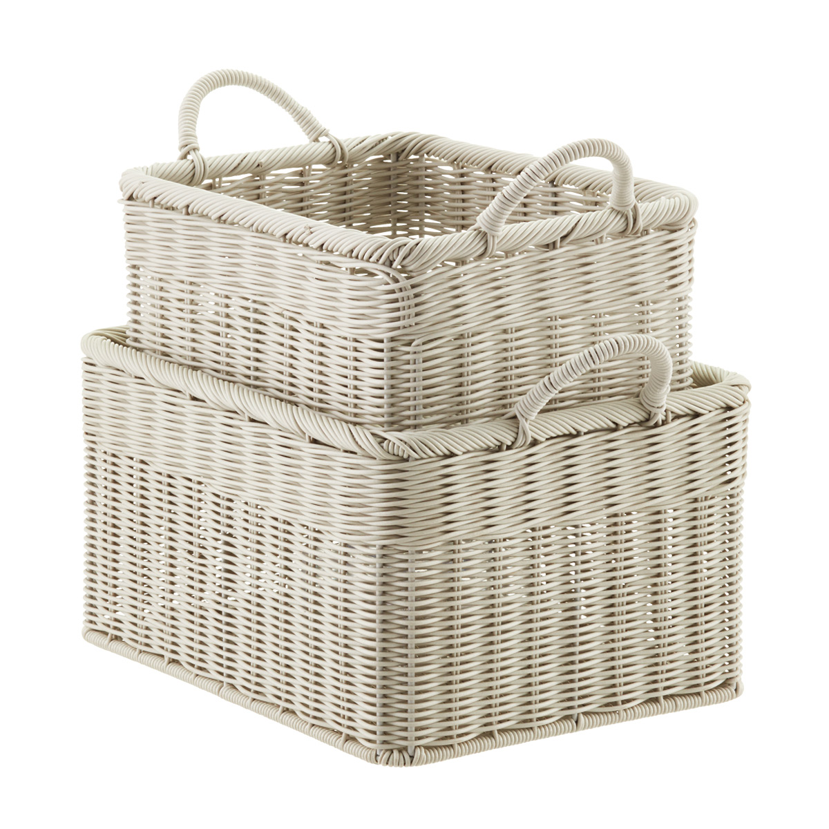 Stone Woven Plastic Storage Bins with Handles  sc 1 st  The Container Store & Baskets: Wicker Baskets Decorative Baskets u0026 Storage Bins | The ...