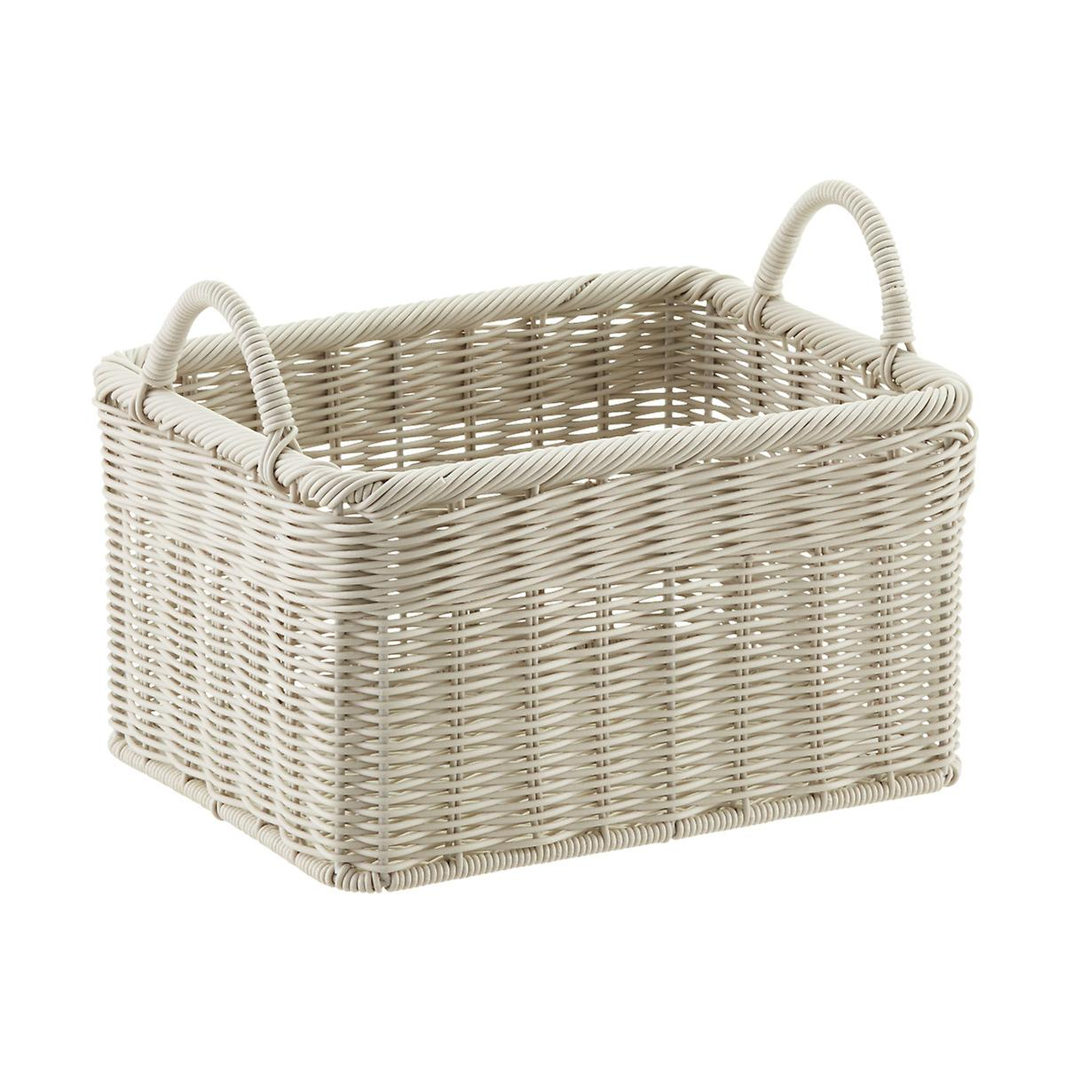 Woven Storage Baskets With Handles : Stone woven plastic storage bins with handles the