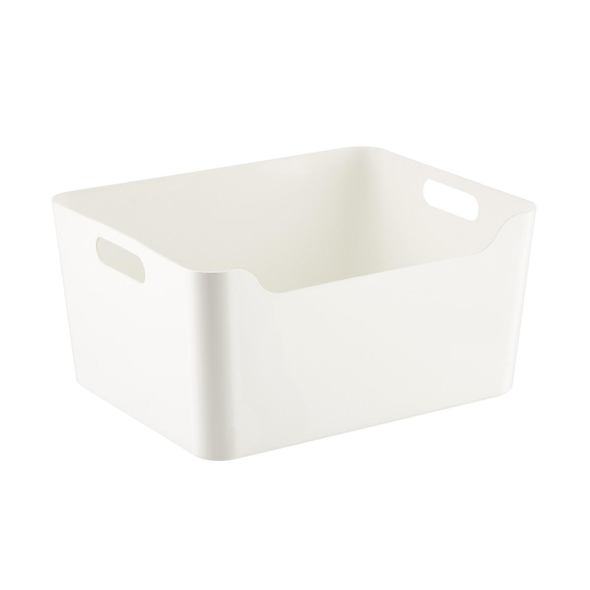 white plastic storage bins with handles the container store. Black Bedroom Furniture Sets. Home Design Ideas