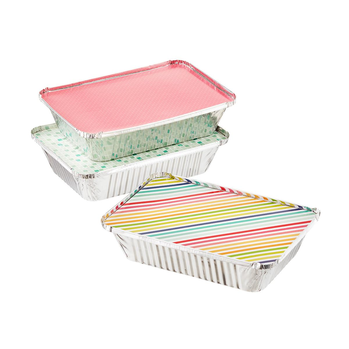 Large Brights Foil Baking Tins with Lids