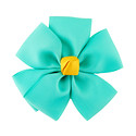 Aqua Grosgrain Flower Bow