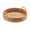 Round Water Hyacinth Serving Tray with Handles