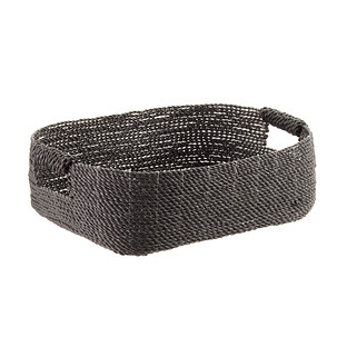Grey Decorative Raffia Storage Basket with Handles