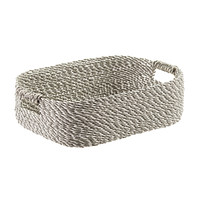Grey & White Decorative Raffia Storage Basket with Handles