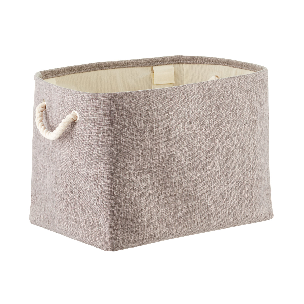 Grey Fabric Storage Bin with Rope Handles
