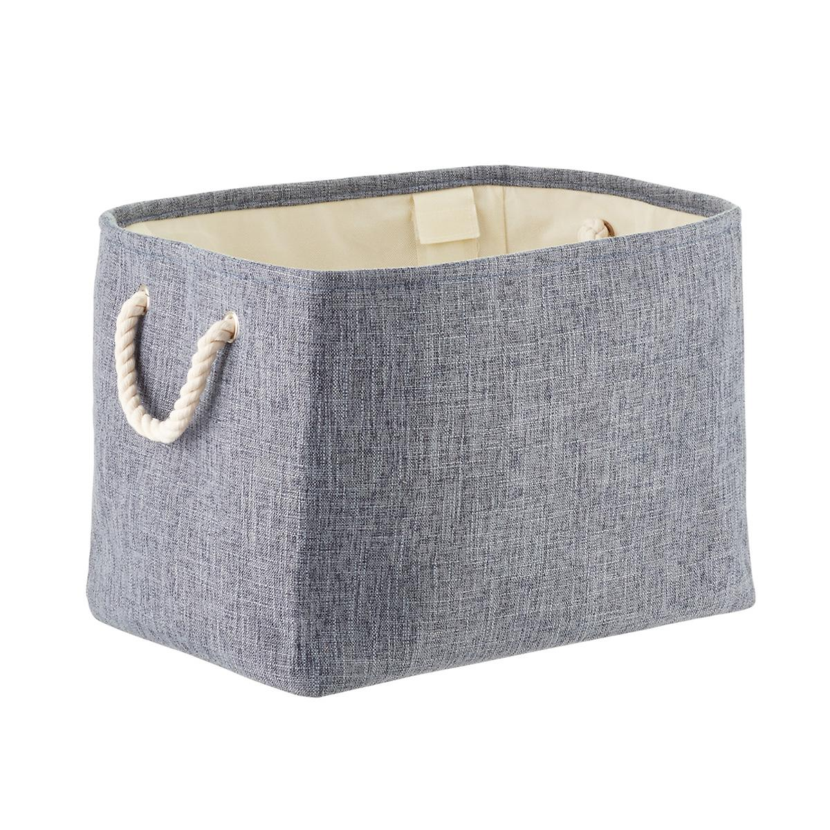 Navy Fabric Storage Bin with Rope Handles