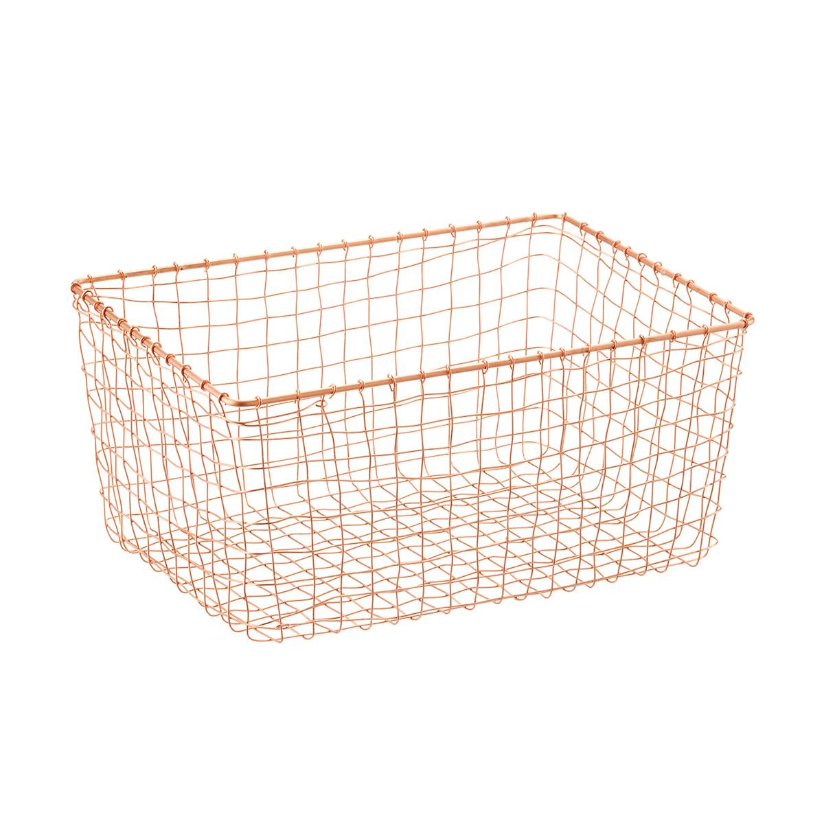 design ideas copper wire march baskets the container store. Black Bedroom Furniture Sets. Home Design Ideas