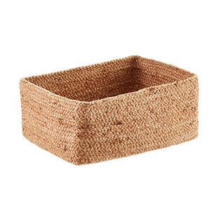 Honey Woven Jute Rectangular Storage Bin