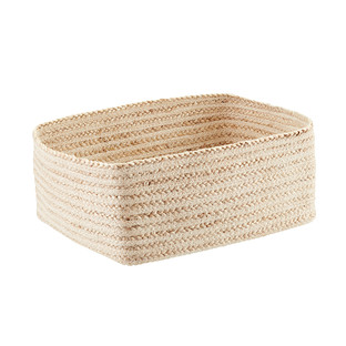 Ivory Braided Jute Rectangular Storage Bin