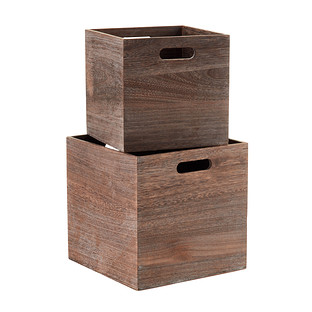 Feathergrain Wooden Storage Cubes With Handles The