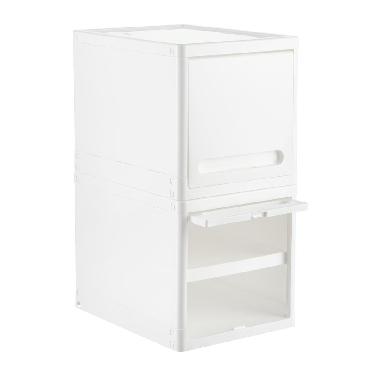 White Plastic Storage Cube with Retractable Door
