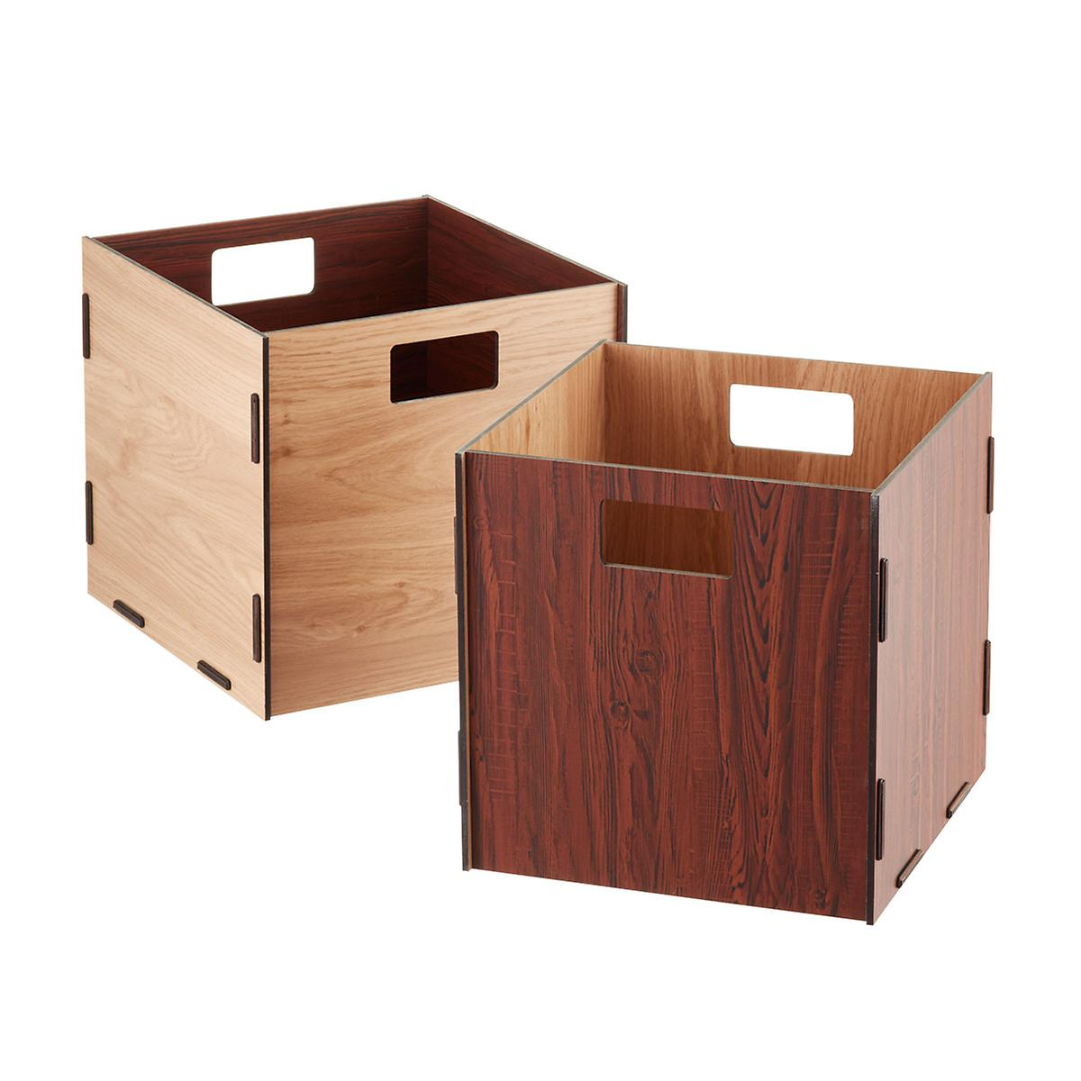 Natural cherry reversible wooden storage cube with