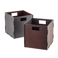 Grey & Chestnut Reversible Wooden Storage Cube with Handles