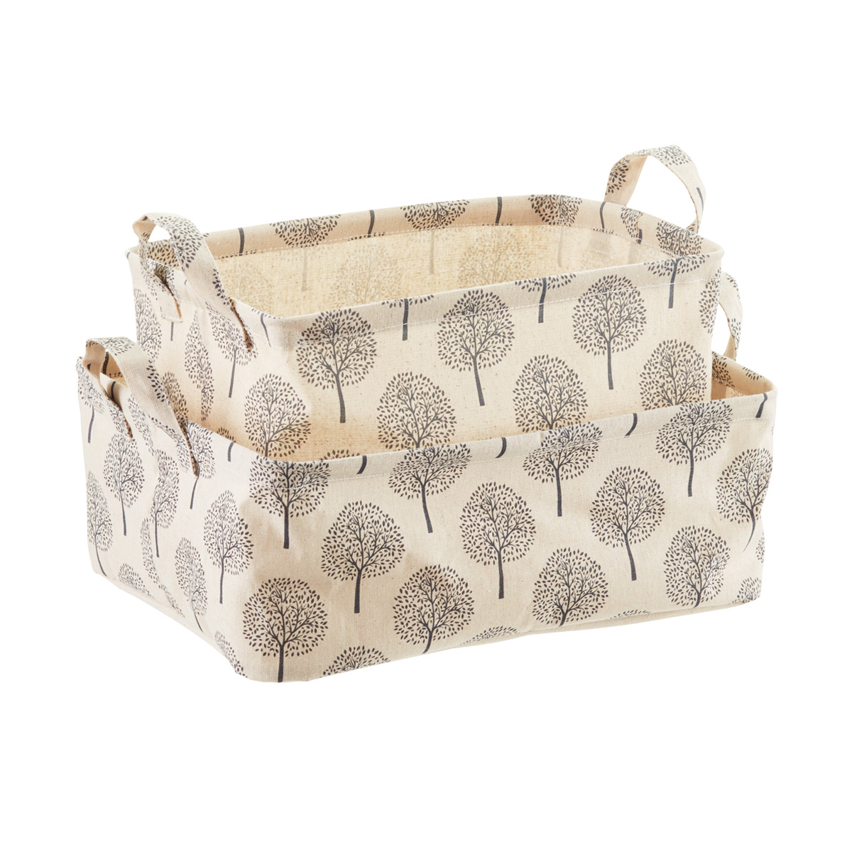 Superbe Natural Tree Print Fabric Storage Bins With Handles ...