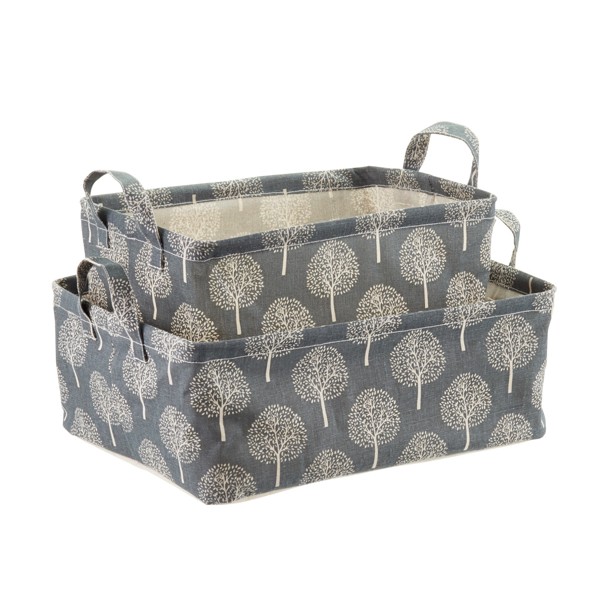 Grey Tree Print Fabric Storage Bins with Handles