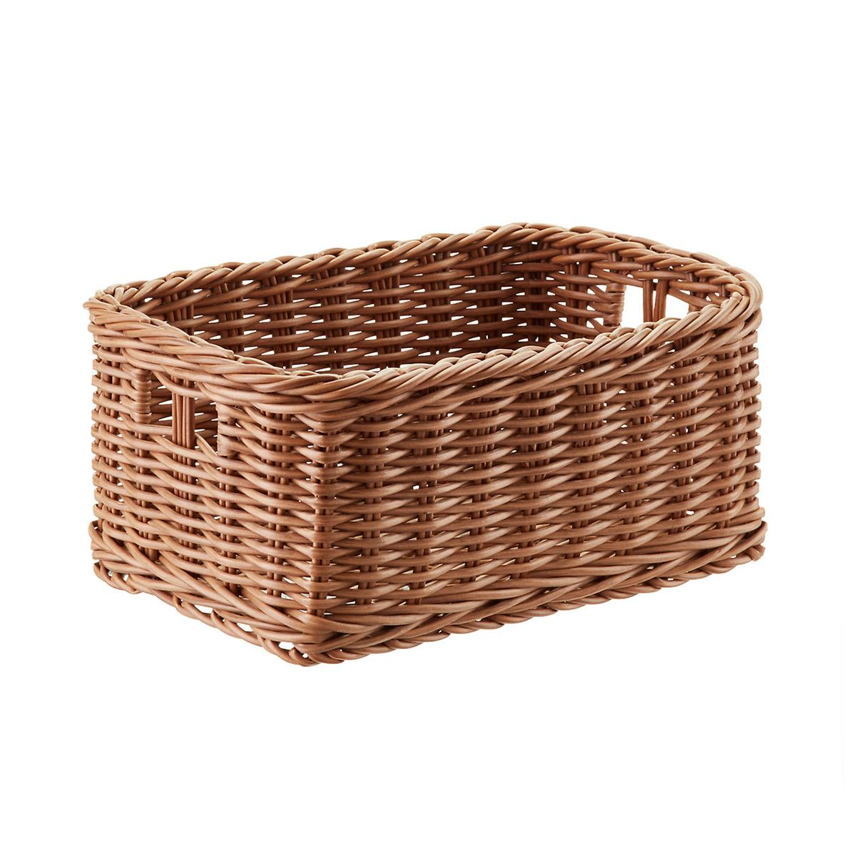 plastic wicker storage bin with handles the container store. Black Bedroom Furniture Sets. Home Design Ideas