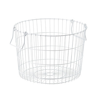 Round White Wire Storage Basket