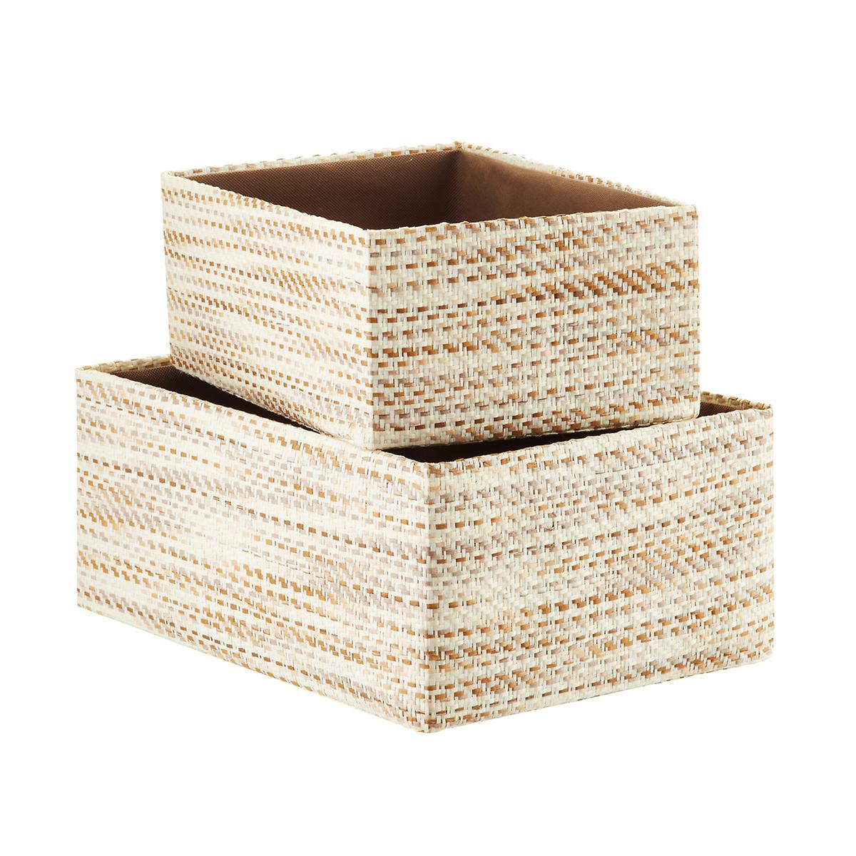 ivory  brown woven kiva storage bins. baskets wicker baskets decorative baskets  storage bins  the