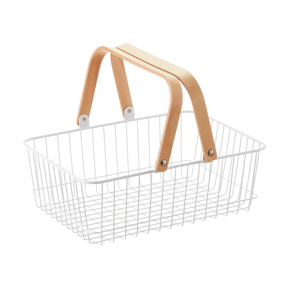 White Wire Basket With Wooden Handles ...