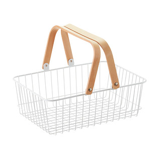 White Wire Basket with Wooden Handles
