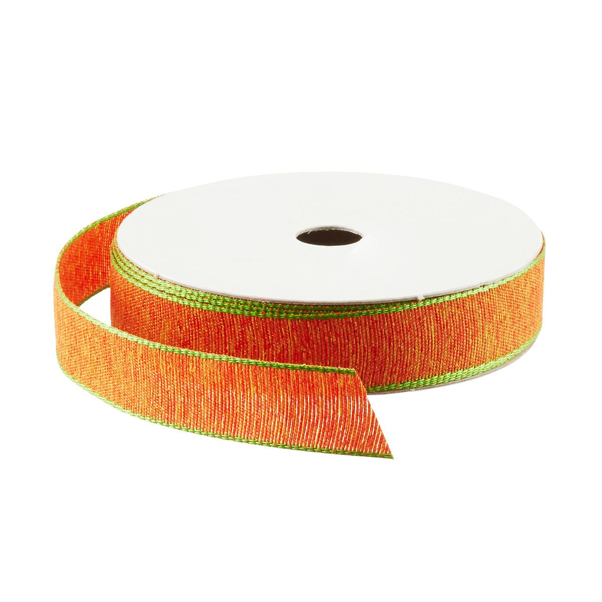 Orange with Green Edge Woven Ribbon