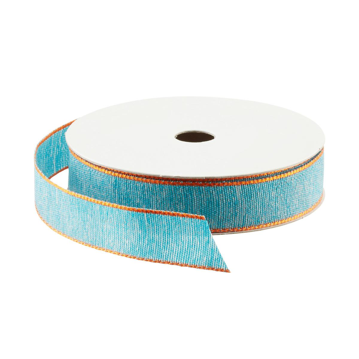 Turquoise with Orange Edge Woven Ribbon