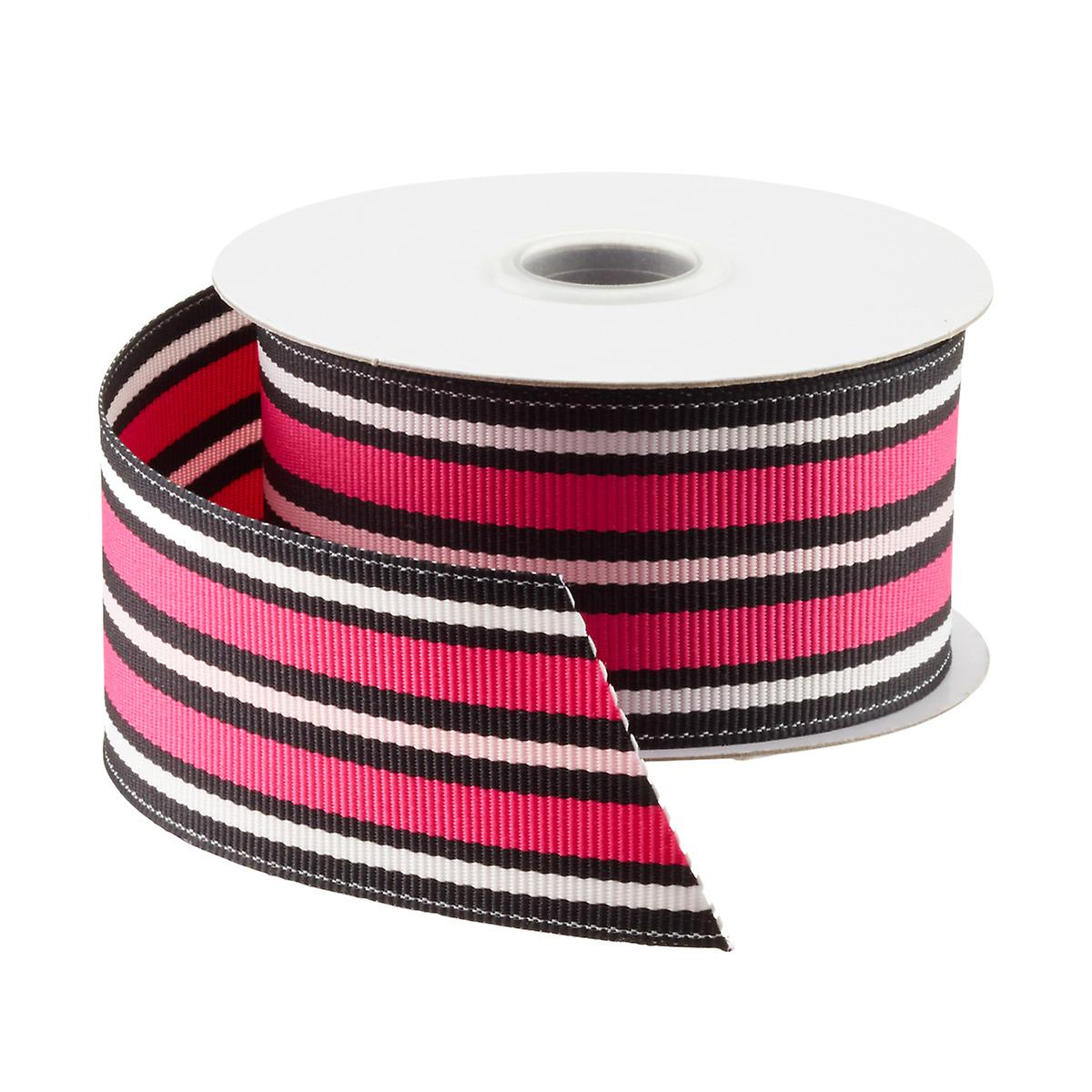 Pink & Black Stripe Grosgrain Ribbon