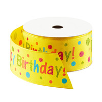 Yellow Happy Birthday Wired Ribbon