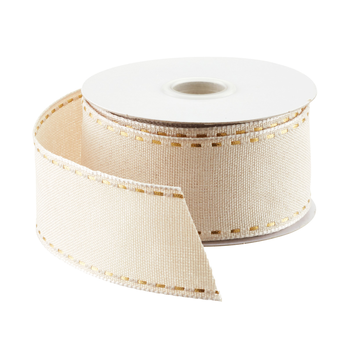 Natural & Gold Stitched Woven Ribbon