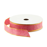 Pink with Yellow Edge Woven Ribbon