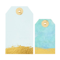 Aqua & Gold Watercolor Gift Tags