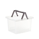 Clear Stackable Plastic Storage Tote with Handles